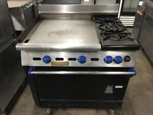 36 Wolf 2 Two Open Burner Range Stove 24 Flat Griddle Single Oven Commercial