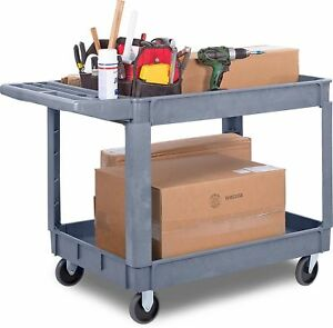 Carlisle Utility Cart Commercial 2 Shelf Service Cart Heavy Load Storage 500 Lbs