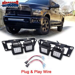 4x Led Bumper Fog Spot Light Pods W Mount Brackets Kit For Dodge Ram 1500 2500