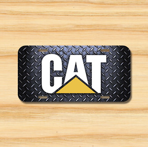Cat License Plate Vehicle Auto Tag Tractor Caterpillar Black Free Shipping