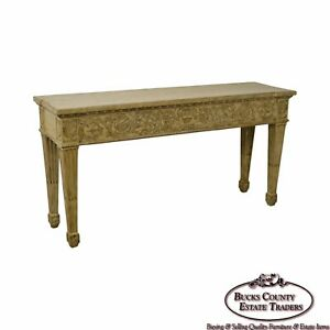 Custom Painted Carved French Louis Xvi Style Long Console Hall Table