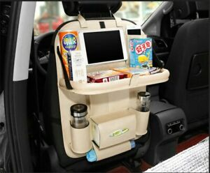 Car Seat Back Bag Organizer Storage Cup Ipad Phone Holder Pocket Leather Beige