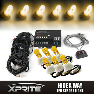 6 Amber Hid Bulbs Hide a way Emergency Hazard Warning Strobe Lights System Kit