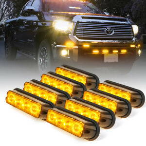 8x4 Led 4w Emergency Security Vehicle Side Marker Grille Strobe Light Amber