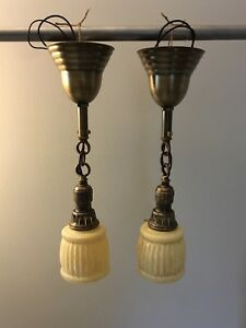 Early Brass Pendant Light Fixtures With Rare Fitters 17 Long 25c