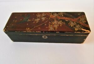 Antique Wood Lacquer Box Hummingbird Cherry Blossoms Asian Japanese Chinese