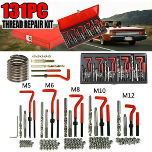 131pcs Stripped Thread Rethread Helicoil Repair Kit Metric M5 M6 M8 M10