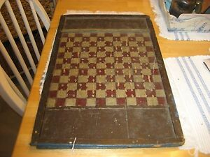 Late 1800s Early 1900s Checkerboard With Peg Holes For Cribbage All Original Pa