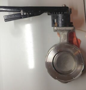 4 Crane Flowseal Wafer Butterfly Valve Locking Handle 720 Psi Stainless