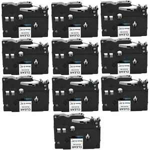 10 pack Compatible Tz 121 Tze 121 Black On Clear Label Tape For Brother P touch