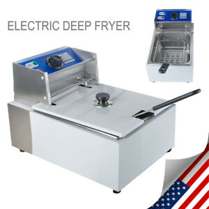 Us 2500w Deep Fryer Electric Commercial Tabletop Restaurant Frying basket Scoop