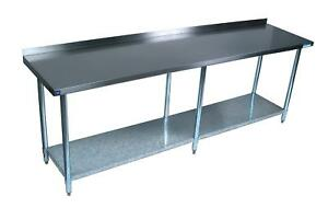 Bk Resources 96 w X 30 d 14 Gauge Stainless Steel Work Table W 5 Riser