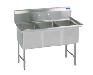 Bk Resources 77 x29 5 Three Compartment 16 Gauge Stainless Steel Sink