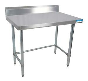 Bk Resources 96 w X 30 d 16 Gauge Stainless Steel Open Base Work Table