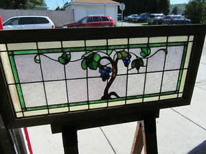 Antique Stained Glass Transom Window Grapevines 48 X 22 Architectural Salvage