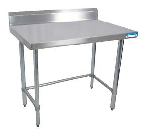 Bk Resources 96 w X 24 d 16 Gauge Stainless Steel Open Base Work Table