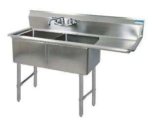 Bk Resources 54 x25 5 Two Compartment 16 Gauge Stainless Steel Sink