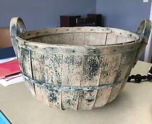 Antique Green Paint Basket