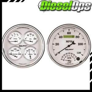 Autometer 2 Gauge Set W 5 Speedo Quad Oil Press Water Voltmeter Fuel