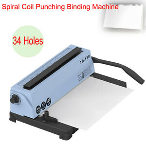 All Steel Metal Spiral Coil 34 Holes Punching Binding Machine 120 Pages Manual