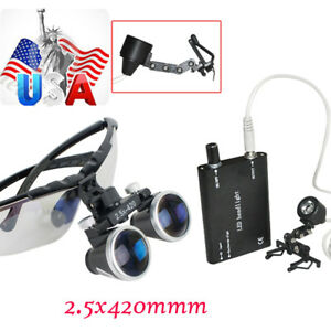 Ce Dental Surgical Medical Binocular Loupes 2 5x420mm Led Light Lamp Clip Type