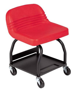 Work Stool With Wheels Creeper Seat High Back Rolling Tool Garage Trays Mechanic