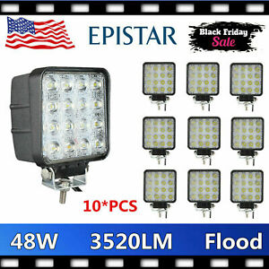 10x 48w Led Work Lamp Light Flood Offroad Tractor Car Boat Motor 12v 24v Atv 4wd