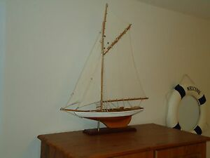 Large Model Lulworth Yacht 72cm On Stand Hand Made Wooden Maritime Ship Boat