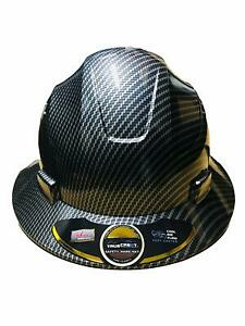 Hdpe Hydro Dipped Black Full Brim Hard Hat With Fas trac Suspension