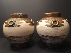 Antique Japanese Large Pair Satsuma Vases Meiji Period Signed