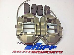 Pair Ap Rear Brake Calipers 4 Piston Cp5515 With Pads And Lines Nascar