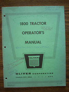 Oliver 1800 Owners Manual