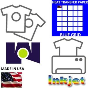 Blue Grid Heat Transfer Paper Iron On Dark T Shirt Inkjet Paper 250 Pk 8 5x11