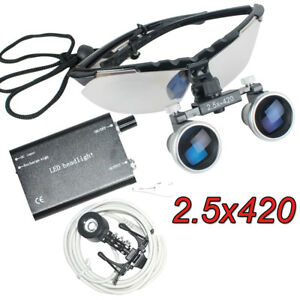 Dentist Luxury Dental Surgical Binocular Loupes Loupe 2 5x 420 Clip Head Light