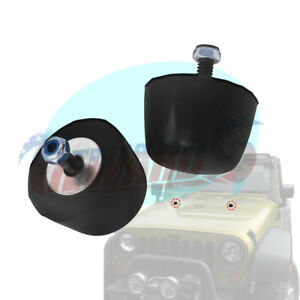 2p Jeep Wrangler 1987 2016 Black Rubber Bumper Cushion Hood Stoppers Genuine