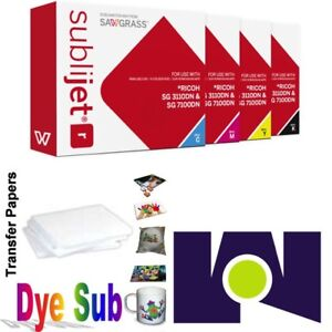 Sawgrass Sublijet Ink Cartridges 3110 cmyk Set 100 Sh Dye Sub Paper