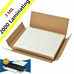 3 Mil 2000 Pack Letter Size Laminator Hot Laminating Pouches 9 X 11 5 Sheets
