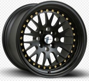 Avid1 Av12 15x8 Rims 4x100 25 Black Wheels New Set
