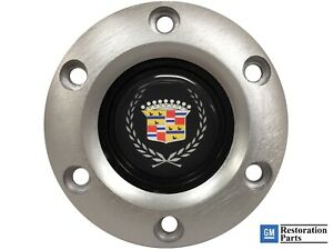 Volante S6 Brushed Horn Button Cadillac Crest Wreath Emblem
