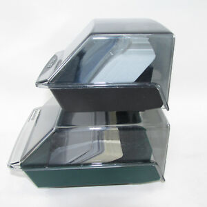 2 Rolodex Card Files With Cards Black Green 2 25 X 4