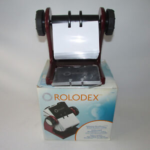 Mahogany Rolodex Rotary Business Card File With Cards Protectors 2 5 8 X 4 New