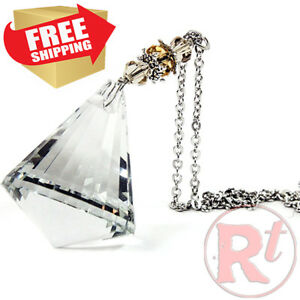 Crystal Bling Gem Cone Mirror Car Charm Hanger Ornament Sparkle Shine Facets