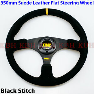 350mm 3 Spoke Flat Black Suede Leather Steering Wheel Omp 14 Black Stitch