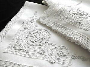 Superb Set 12 Antique Linen 19 Napkins Appenzell Hand Embroidered Monogram Lace