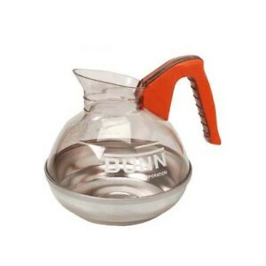 Coffee Pot Decanter Decafe Orange 64 Oz Stainless Base Bunn o matic 190 1109