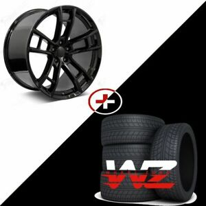 20 Daytona Style Gloss Black Wheels Tires Fits Dodge Charger 300 Challanger