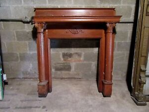 Antique Carved Oak Fireplace Mantel 53 X 56 Architectural Salvage