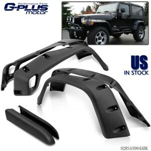 Wide Black Pocket Extended Fender Flares Kit For 97 06 Jeep Wrangler Tj 7