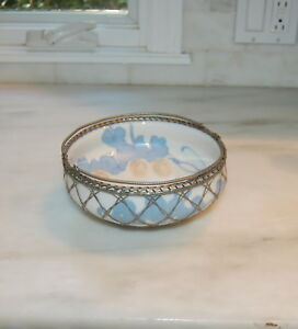 Antique Japanese Awaji Pottery Fruit Bowl Basket Woven Silver Bronze Overlay