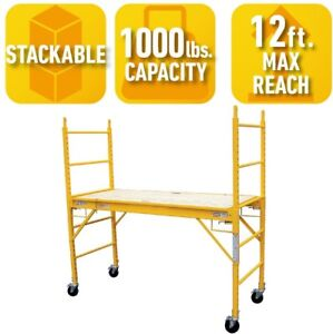 Multi Use Drywall Baker Scaffolding Ladder Yellow Steel Standard Equipment Tools